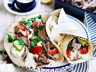Slow-cooker chilli and fennel pork gyros