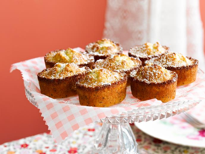"""Delicious and buttery [lemon and poppyseed friands](https://www.womensweeklyfood.com.au/recipes/lemon-and-poppyseed-friands-28819