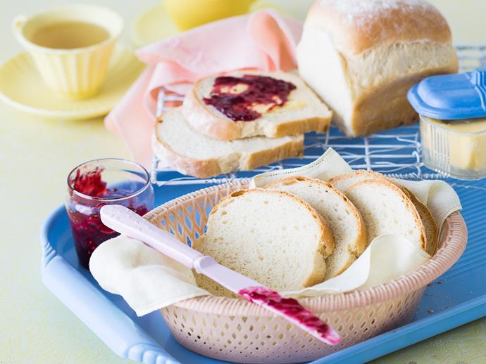 "**[Basic white bread](https://www.womensweeklyfood.com.au/recipes/basic-white-bread-28821|target=""_blank"")**"