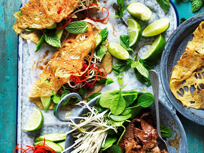"""**[Thai beef omelettes](https://www.womensweeklyfood.com.au/recipes/thai-beef-omelettes-28839