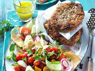 Zaatar spiced schnitzels with fattoush