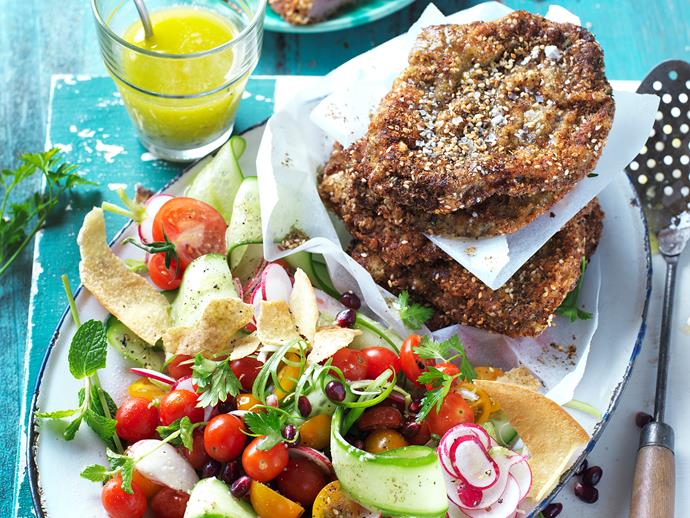 """Discover the flavours of Lebanon and the middle east with this deliciously authentic [zaatar spiced schnitzels with fattoush](https://www.womensweeklyfood.com.au/recipes/zaatar-spiced-schnitzels-with-fattoush-28840