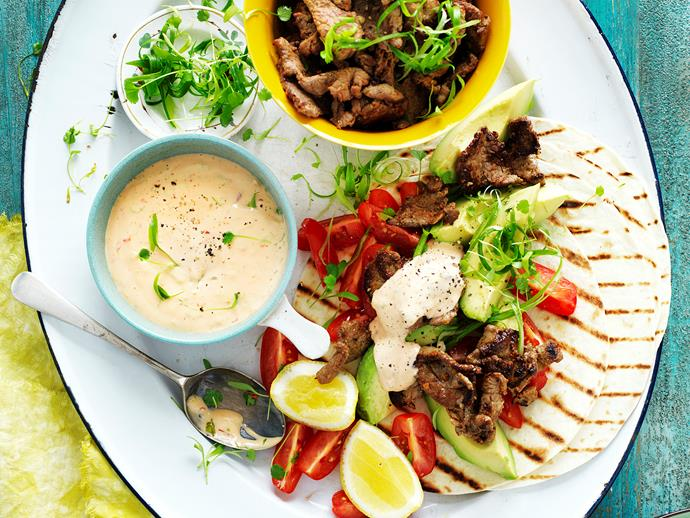 "These fresh, zingy [Mexican beef tortillas](https://www.womensweeklyfood.com.au/recipes/mexican-beef-wraps-28841|target=""_blank"") are loaded full of delicious, authentic flavour and pack a good amount of punch. These are sure to become a family favourite in no time!"