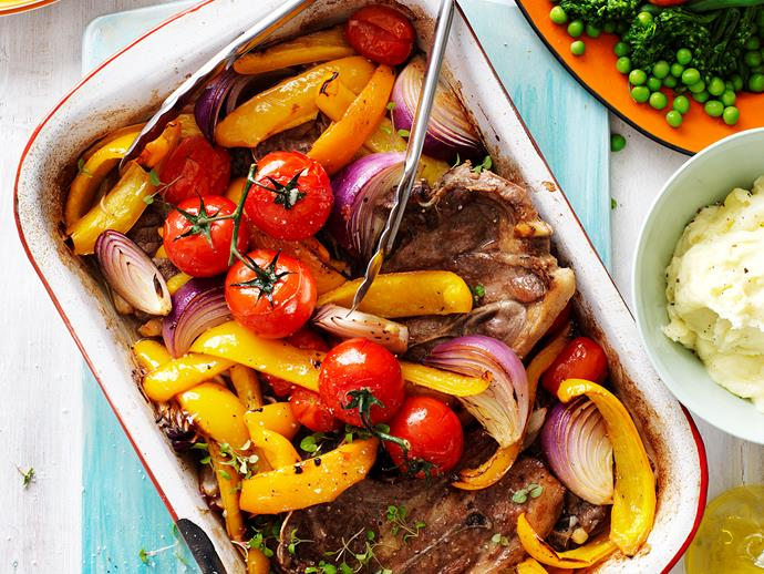 Baked lamb chops with capsicum and tomato via [Food To Love](http://www.foodtolove.com.au/recipes/baked-lamb-chops-with-capsicum-and-tomato-18515).