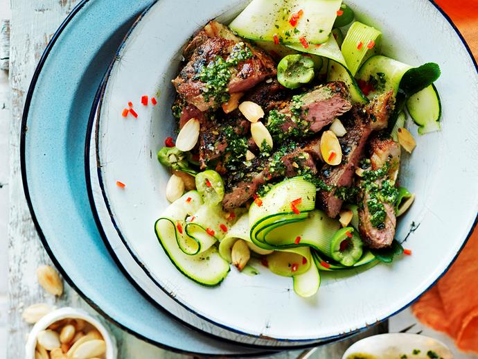 Pesto lamb with zucchini and almond salad via [Food To Love](http://www.foodtolove.com.au/recipes/pesto-lamb-with-zucchini-and-almond-salad-18516).