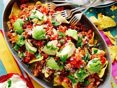 Lamb and bean nachos with salsa fresca