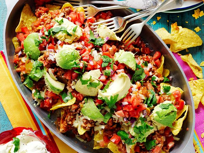 "**[Lamb and bean nachos with salsa fresca](https://www.womensweeklyfood.com.au/recipes/lamb-and-bean-nachos-with-salsa-fresca-28845|target=""_blank"")**  *Gluten-free with gluten-free corn chips - could be dairy-free with dairy-free cheese*"