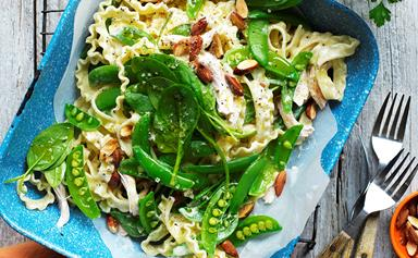 Chicken and sugar snap pea pasta