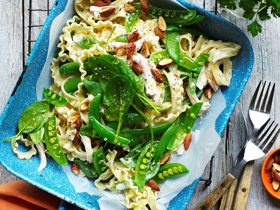 """**[Chicken and sugar snap pea pasta](https://www.womensweeklyfood.com.au/recipes/chicken-and-sugar-snap-pea-pasta-28856