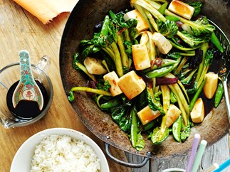 Tofu and sugar snap pea stir-fry