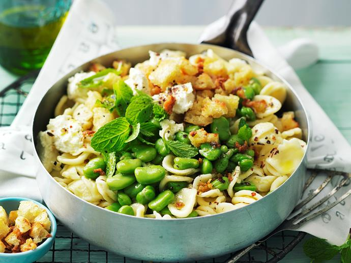 "Healthy and delicious - this nourishing [broad bean and ricotta orecchiette](https://www.womensweeklyfood.com.au/recipes/broad-bean-and-ricotta-orecchiette-28861|target=""_blank"") is perfect for dinner with the family any night of the week!"