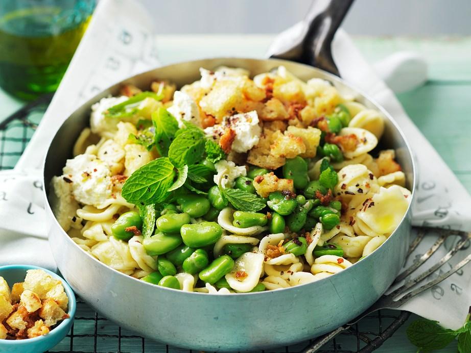"This [broad bean and ricotta orecchiette recipe](https://www.womensweeklyfood.com.au/recipes/broad-bean-and-ricotta-orecchiette-28861|target=""_blank"") is a delightfully light-tasting pasta dish that celebrates creamy soft ricotta."