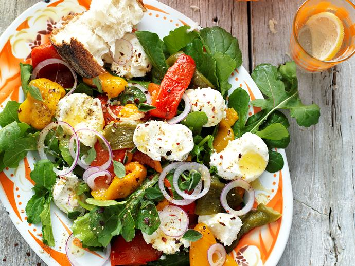 """[Roasted capsicum and labne salad](http://www.foodtolove.com.au/recipes/roasted-capsicum-and-labne-salad-18534