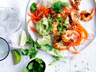 Grilled prawns with avocado cream and slaw