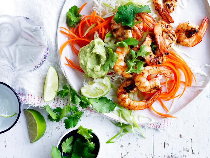 "Fresh, flavoursome, and so delicious - these juicy [grilled prawns with zesty avocado cream and slaw](https://www.womensweeklyfood.com.au/recipes/grilled-prawns-with-avocado-cream-and-slaw-28864|target=""_blank"") will please the entire family!"