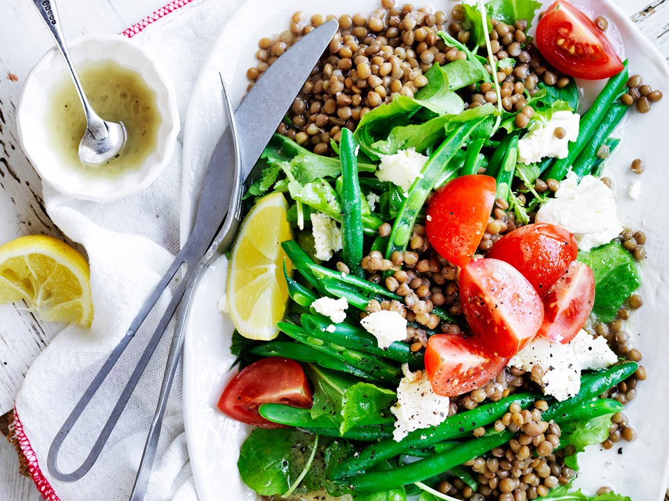 """This simple [lentil, green bean and fetta salad](https://www.womensweeklyfood.com.au/recipes/lentil-gorgonzola-and-witlof-salad-10813