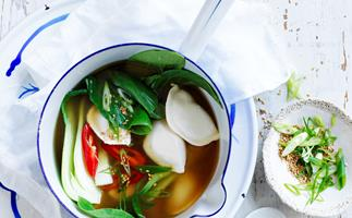 Spicy dumpling miso soup