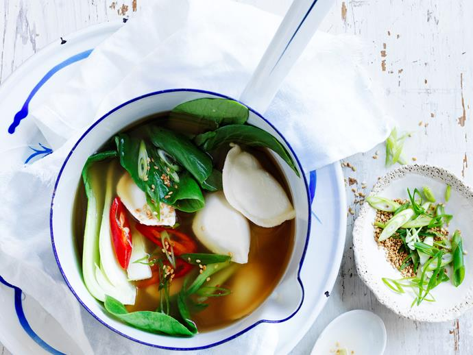"This deliciously fresh Asian inspired [miso dumpling soup](https://www.womensweeklyfood.com.au/recipes/spicy-dumpling-miso-soup-28867|target=""_blank"") is perfect for dinner tonight - packed with flavour and just the right amount of kick!"