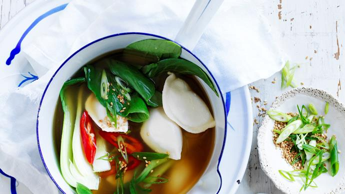 Spicy dumpling miso soup