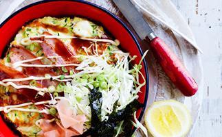 Prawn and vegetable Okonomiyaki - Japanese pancake