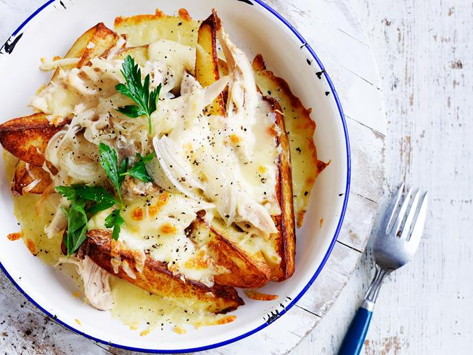 "[Potato wedges and chicken poutine](http://www.womensweeklyfood.com.au/recipes/potato-wedges-and-chicken-poutine-28872|target=""_blank""): Don your beret and get the bread sticks ready for this French-inspired dinner that will leave you saying *oui oui*."