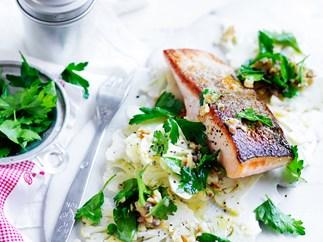 Salmon with shaved cauliflower salad