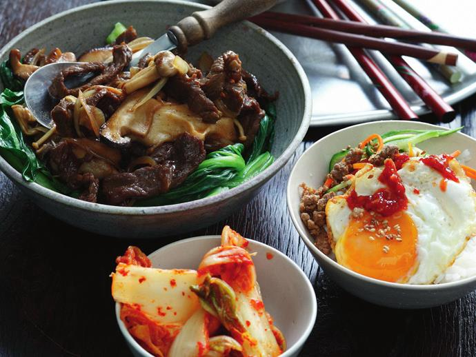 "This traditional [Korean bibimbap](https://www.womensweeklyfood.com.au/recipes/bibimbap-28878|target=""_blank"") can be enjoyed any time of day. The combination of stir-fried beef, rice and an oozy fried egg is a match made in heaven and will give you lasting energy to power through the day."