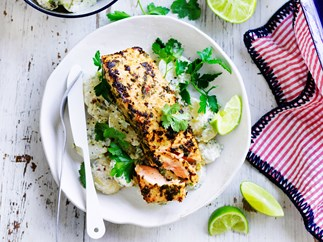 Jerk salmon with yoghurt potatoes