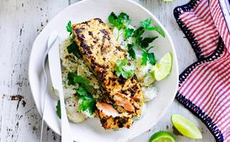 Jerk salmon with yoghurt potatoes