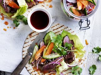 Korean steak tacos with pickled vegetables