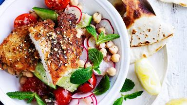 Za'atar chicken schnitzel and salad