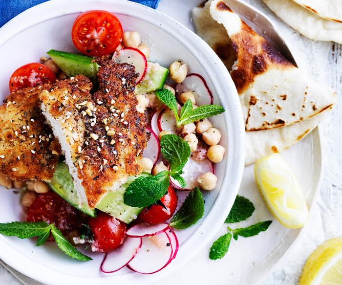 Za'atar chicken schnitzel and salad