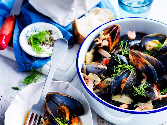 "Fresh, quick, flavoursome dinners don't get much better than these delicious [bacon, cider and fennel mussels](https://www.womensweeklyfood.com.au/recipes/bacon-cider-and-fennel-mussels-28883|target=""_blank"")! Cook up a storm with this mouth-watering recipe tonight!"