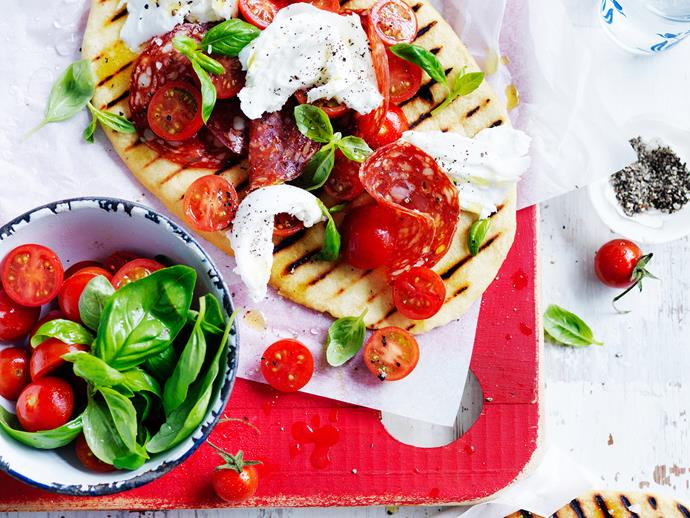 """Try this **[grilled mozzarella and salami piadina](https://www.womensweeklyfood.com.au/recipes/grilled-mozzarella-and-salami-piadina-28885