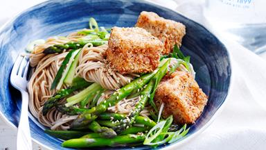 Salt and pepper tofu with soba noodles