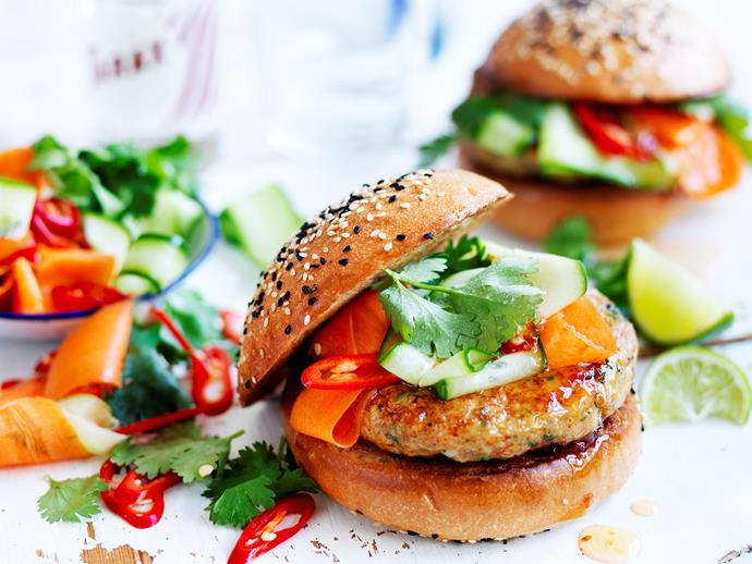 "**[Thai fish burgers with pickled vegetables](https://www.womensweeklyfood.com.au/recipes/thai-fish-burgers-with-pickled-vegetables-28887|target=""_blank"")**  Escape to Thailand with these delicious Thai fish burgers with pickled vegetables! Loaded with fresh authentic Asian flavours and textures, you simply can't resist this dish!"