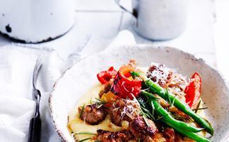 Sausages and capsicum with soft polenta