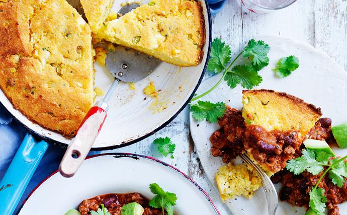 Skillet cornbread with beef and bean chilli