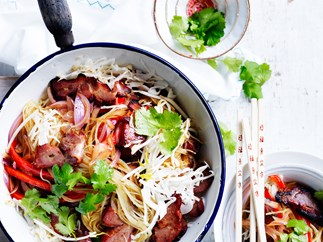 Pork and bean sprout Singapore noodles