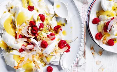 Lemon and meringue passionfruit mess