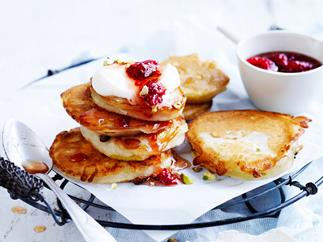 Pear fritters with raspberry rose syrup