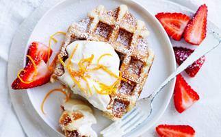 waffles with marmalade ricotta