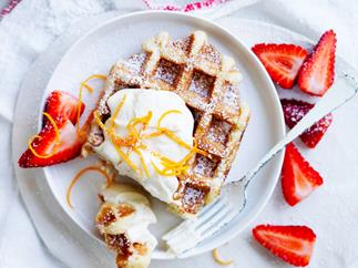 waffles with marmalade ricotta