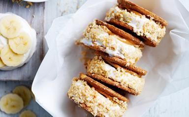 Peanut and honey ice-cream sandwiches