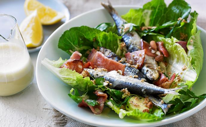 Caesar salad with grilled sardines