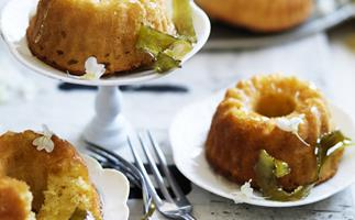 Lime and yoghurt cakes with elderflower syrup