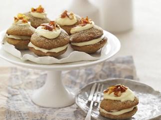 Mini brown sugar and hazelnut whoopie pies