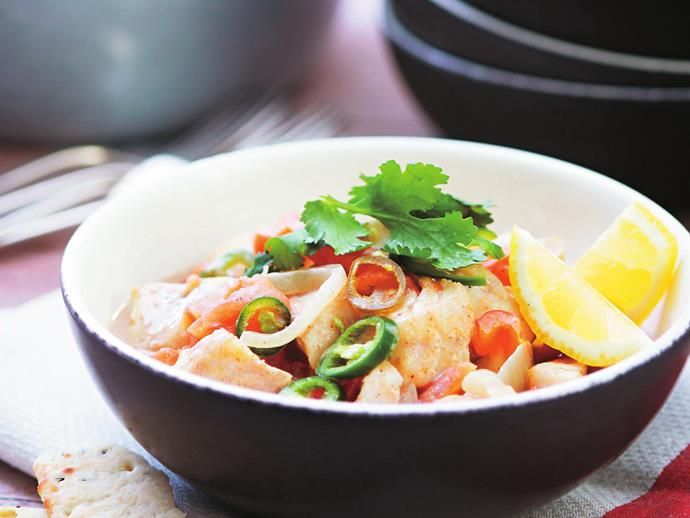 "This [fragrant coconut fish curry](https://www.womensweeklyfood.com.au/recipes/coconut-fish-curry-6961|target=""_blank"") is packed full of goodness to warm your body and soul on a cool evening."