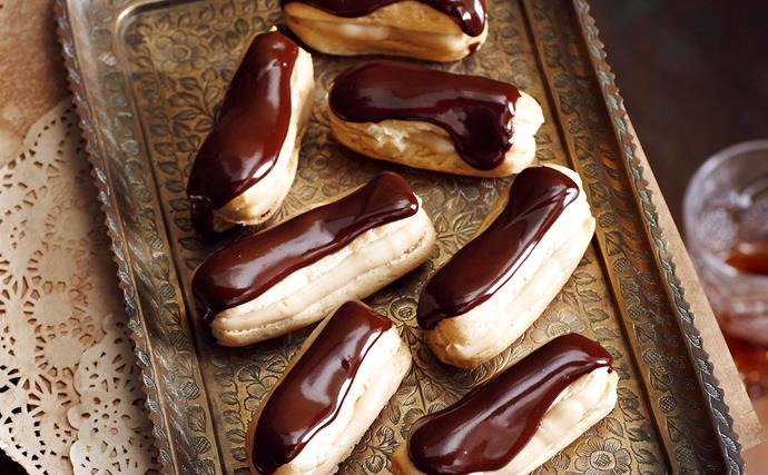 chocolate caramel eclairs