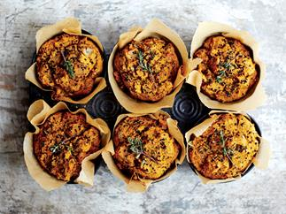 Herbed black quinoa muffins with sweet potato
